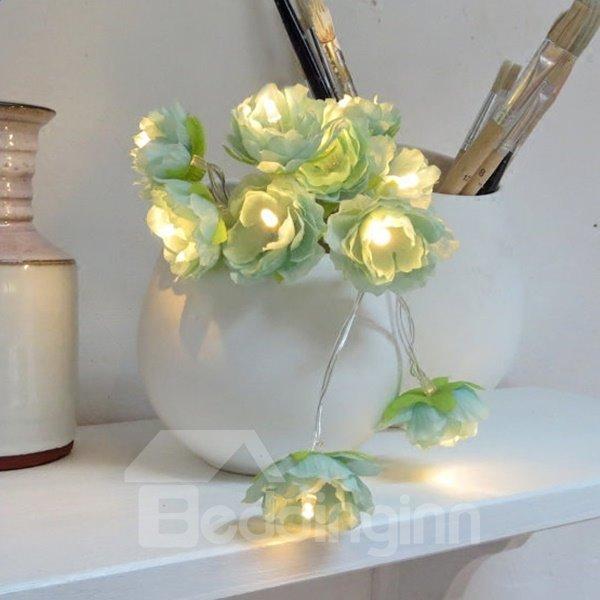Fancy Fabric Flower Shape 6.5 Feet Length 20 Bulbs LED String Lights