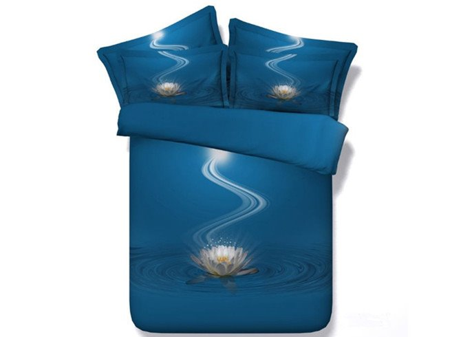 Incredible White Lotus Print 4-Piece Duvet Cover Sets