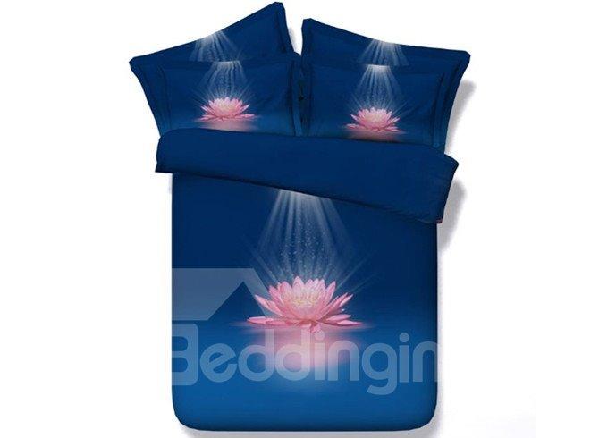 Tempting Pink Lotus Flower Print 4-Piece Duvet Cover Sets