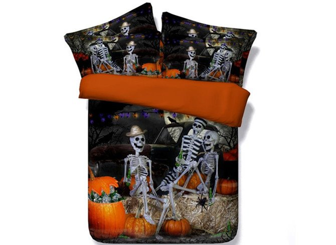Popular Halloween Skeletons Party Print 4-Piece Duvet Cover Sets