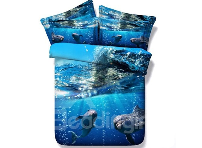 Lovely 3D Dolphin Printed 4-Piece Duvet Cover Sets