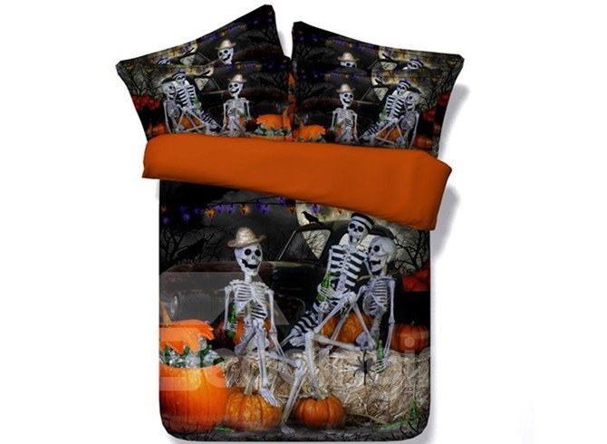 Halloween Skeletons Party 3D Printed 5-Piece Comforter Sets