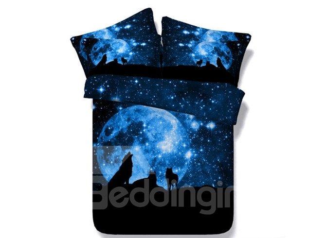 Dreamlike Moonlight 3D Wolf Printed 5-Piece Comforter Sets