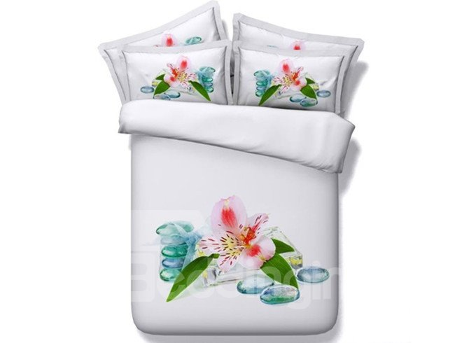 Attractive 3D Lily Printed 5-Piece Comforter Sets