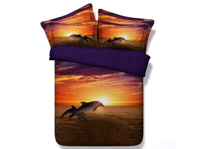 3D Vigorous Dolphin at Dusk Print 5-Piece Comforter Sets