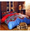 Characteristic Damask Print Staple Cotton 4-Piece Duvet Cover Sets