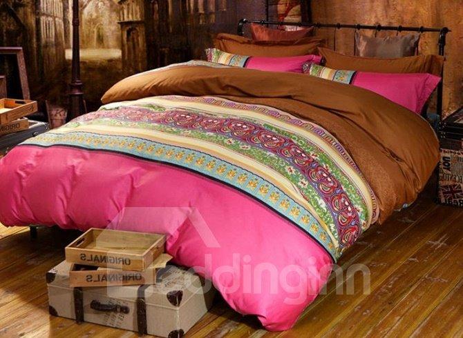 Beautiful Stripe Print Staple Cotton 4-Piece Duvet Cover Sets