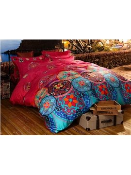 Elegant Ethnic Design Staple Cotton 4-Piece Duvet Cover Sets