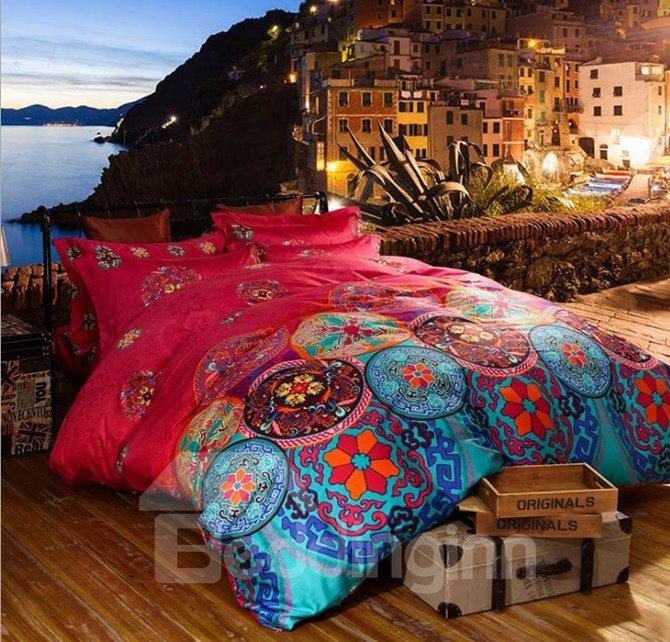 Elegant Ethnic Design Staple Cotton 4-Piece Duvet Cover Sets