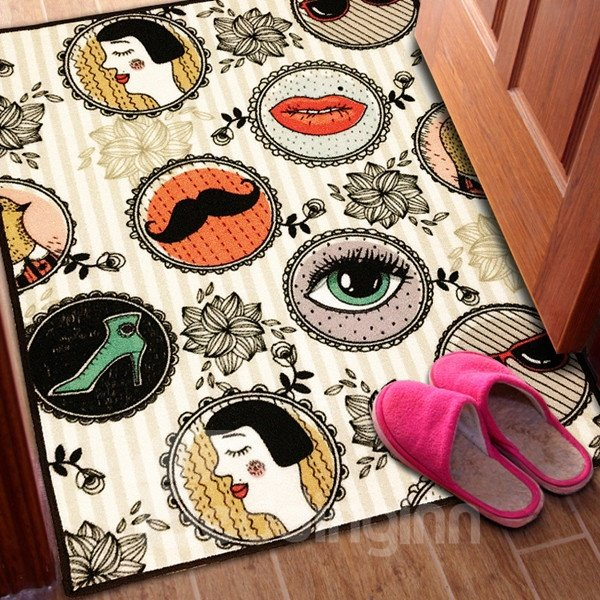 Fashion Design Rectangle Beauty and Flower Pattern Decorative Area Rug