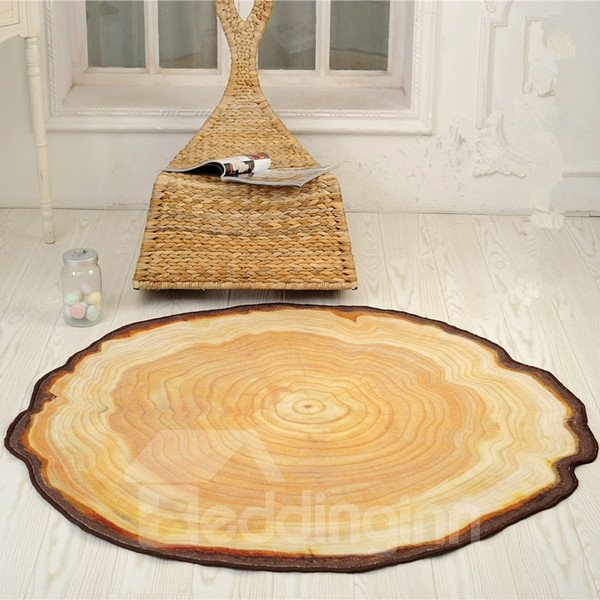 Modern Country Style Round Tree Annual Ring Shape Area Rug