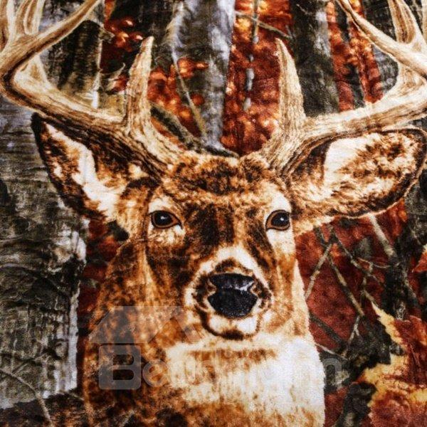 Ultra Soft Adorable Reindeer Print Raschel Blanket