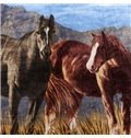 Stunning Brown and Black Horses Print Raschel Blanket