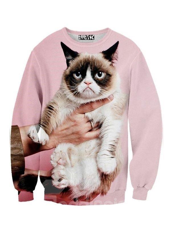 Long Sleeve Cat Pattern Pink 3D Painted Hoodie