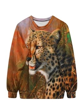 Cool Long Sleeve Leopard Pattern 3D Painted Hoodie