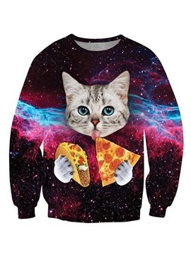 Lovely Long Sleeve Cat with Pizza Pattern 3D Painted Hoodie