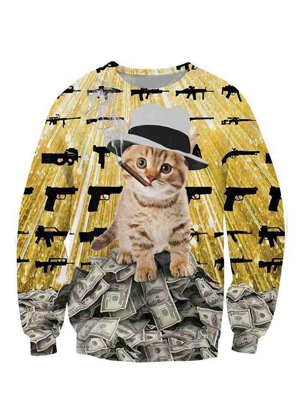 Cute Long Sleeve Smoking Cat lie in Dollars Pattern 3D Painted Hoodie