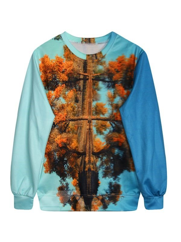 Stunning Long Sleeve Tree Pattern Blue 3D Painted Hoodie
