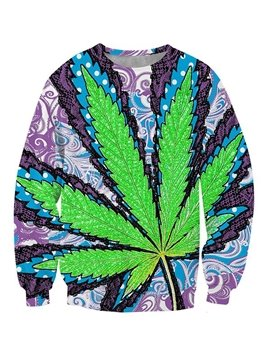 Charming Long Sleeve Leaves Pattern 3D Painted Hoodie