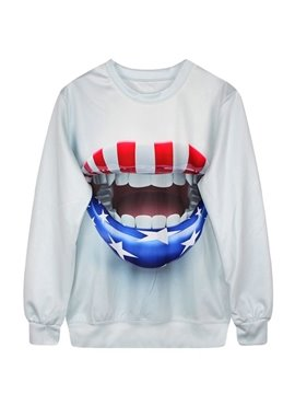 Long Sleeve American Flag Lips Pattern 3D Painted Hoodie