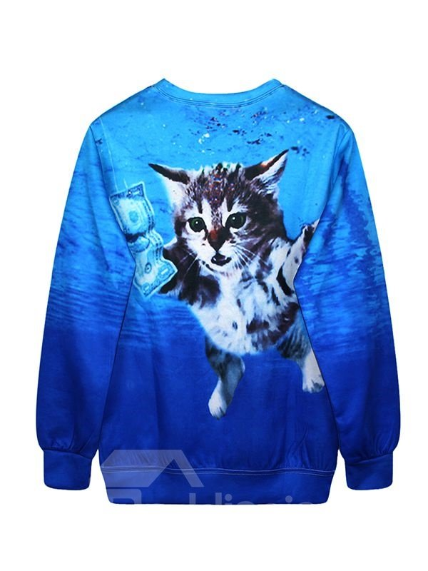 Modern Long Sleeve Swimming Cat Pattern Blue 3D Painted Hoodie