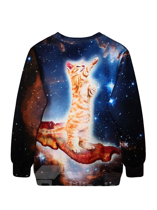 Fashion Long Sleeve Lovely Cat Pattern 3D Painted Hoodie