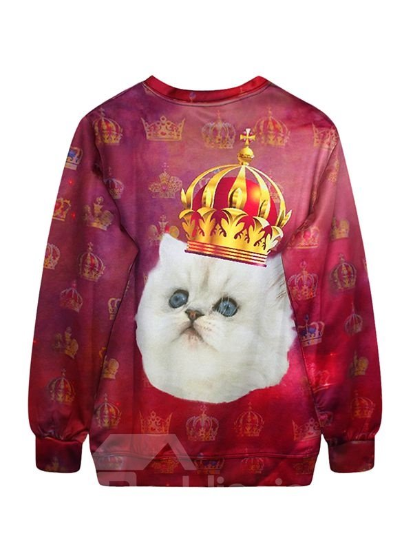 Cute Long Sleeve Cat with Crown Pattern 3D Painted Hoodie