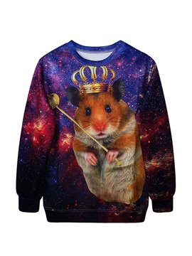 Long Sleeve Mouse with Crown Pattern 3D Painted Hoodie