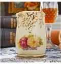 Beautiful Ceramic Flower Pattern Toothpick Holder Painted Pottery