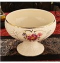 White Beautiful Ceramic Flower Pattern Fruit Compote Painted Pottery