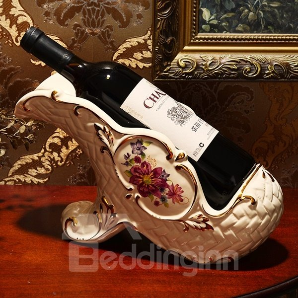 Stunning White Ceramic Flower Pattern Wine Holder Painted Pottery