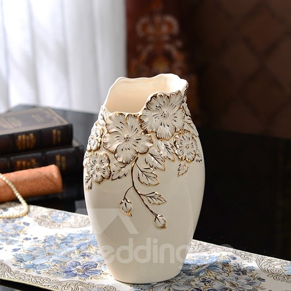 White Ceramic Flower Pattern 3 Pieces Flower Vase Painted Pottery