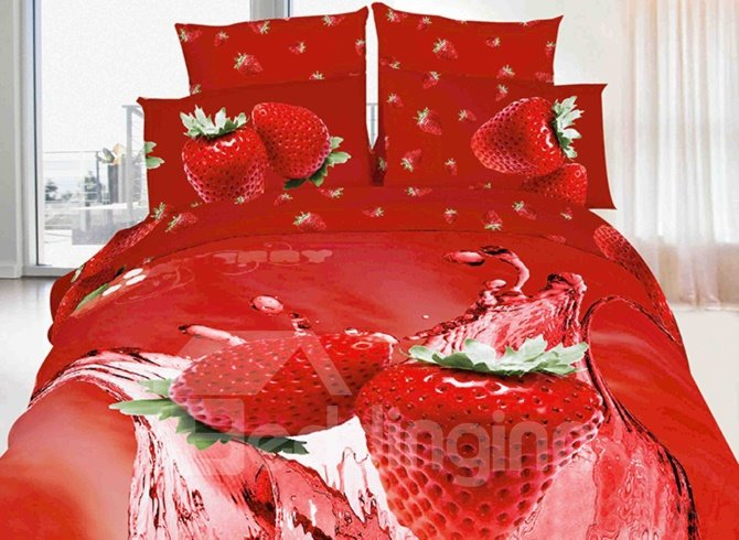 Tempting Strawberry Print 4-Piece Cotton Duvet Cover Sets