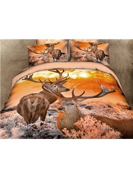 Luxury Reindeer Print 4-Piece Cotton Duvet Cover Sets