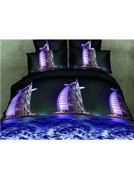 Beautiful Burj Al Arab Print 4-Piece Polyester 3D Duvet Cover