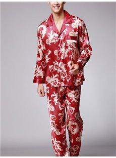 Luxury Dragon Pattern Design Red Style Super Comfortable Pajamas