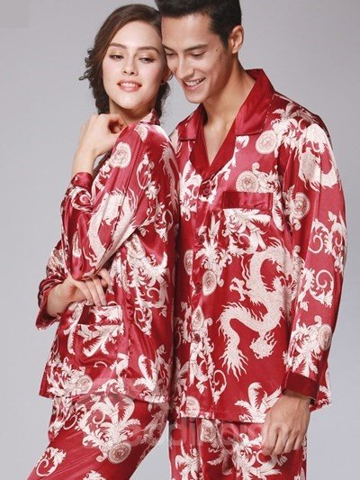 Luxury Dragon Pattern Design Red Style Super Comfortable Pajamas