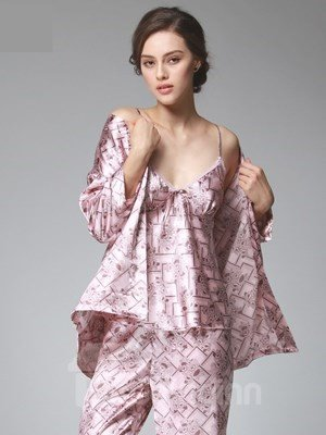 High Cost-Effective Sexy Luxury V-Pattern Three-Piece Pajamas