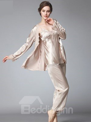 Three-Piece V Pattern Flowers Lace Special Design Attractive Pajamas