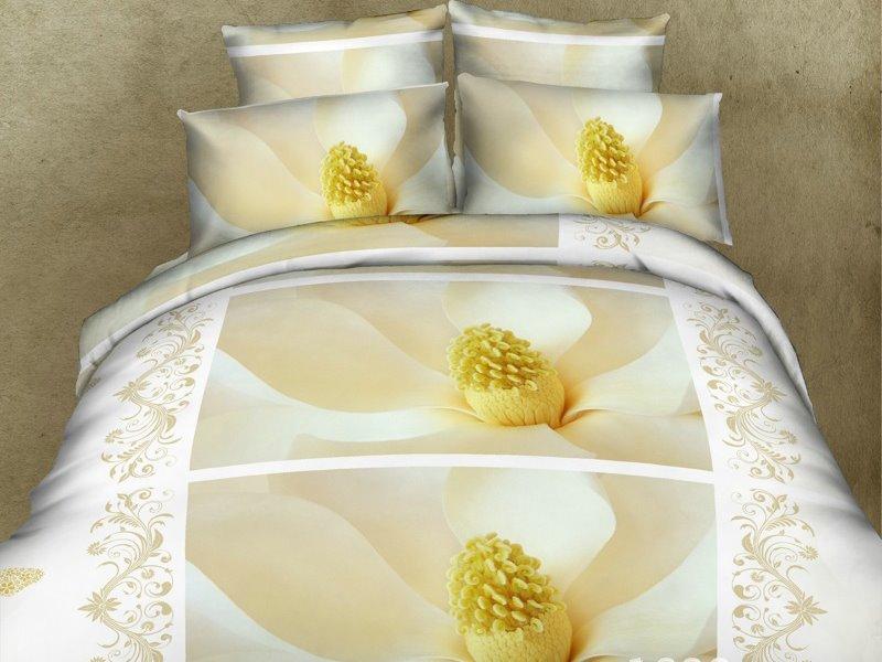 White Lily Magnolia Print 4-Piece Duvet Cover Sets