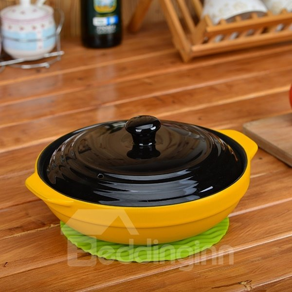 Simple Style Ceramic Heat-resisting with Black Lid Cookware 0.9L Stockpot