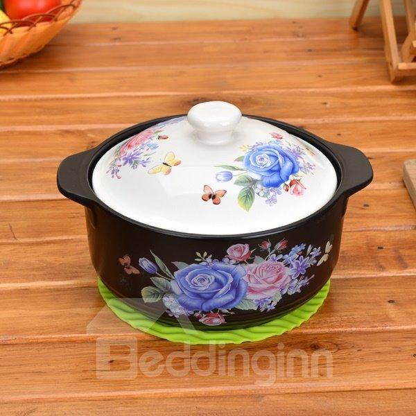 Unique Design Ceramic Rose Pattern Heat-resisting 3.5L Stockpot