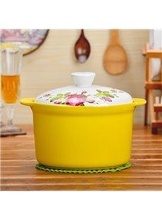 Multicolor Ceramic Flower Pattern Homeware Heat-insulated Hand Holder 1.6L Stockpot