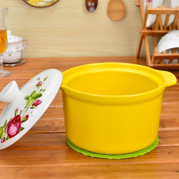 Multicolor Ceramic Flower Pattern Homeware Heat-insulated Hand Holder 1.6L Stockpot