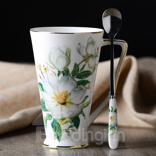 Elegant White Ceramic Flower Pattern Cup and Spoon Painted Pottery 12426318