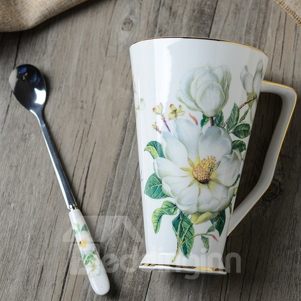 Elegant White Ceramic Flower Pattern Cup and Spoon Painted Pottery