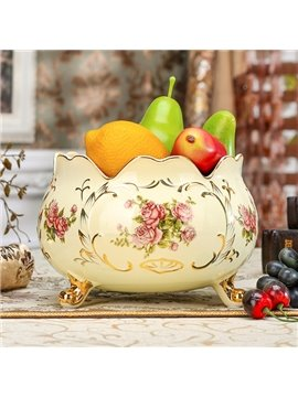 Simple Style Ceramic Flower Pattern Decorative Fruit Pot Painted Pottery
