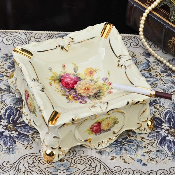 Amazing Ceramic Square Shape Flower Pattern Ashtray Painted Pottery 12426323