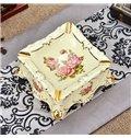 Amazing Ceramic Square Shape Flower Pattern Ashtray Painted Pottery