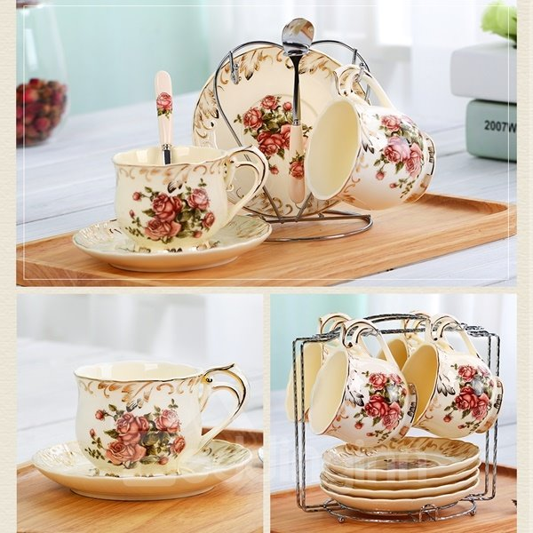 Elegant Ceramic Flower Pattern Cup and Plate Set Painted Pottery 12426324